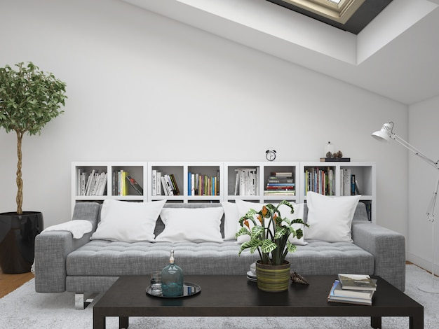 Modern living room with sofa and cushions frames