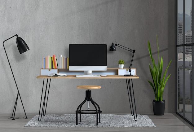 책상과 데스크탑 컴퓨터를 갖춘 현대적인 거실 작업 공간