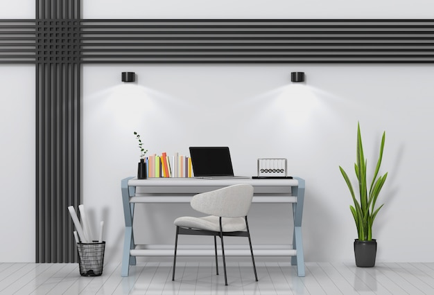 Modern living room workspace with desk and laptop computer