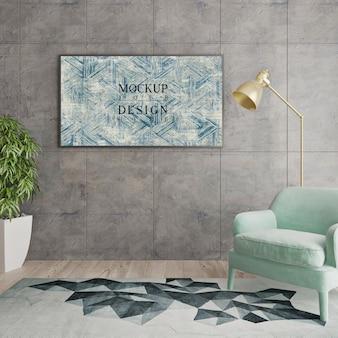 Modern livingroom design with mockup frame
