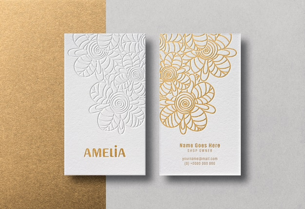 Modern and luxurious business cards mockup with golden letterpress effect