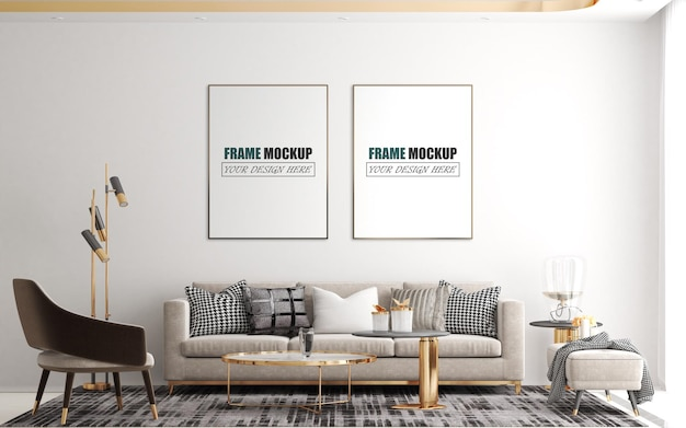 Modern and luxurious living room frame mockup