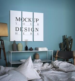 モックアップポスター付きのモダンで豪華なベッドルームのデザイン