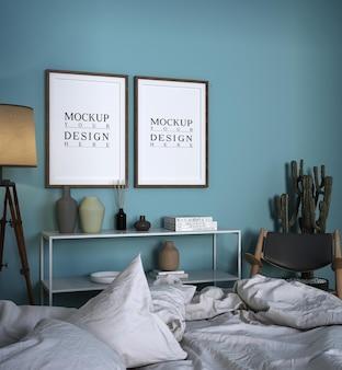 모형 사진 프레임이있는 현대적인 고급 침실 디자인