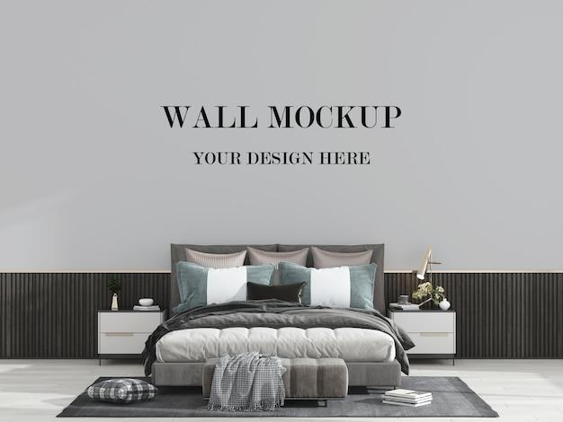 モダンで豪華な寝室の壁のモックアップ