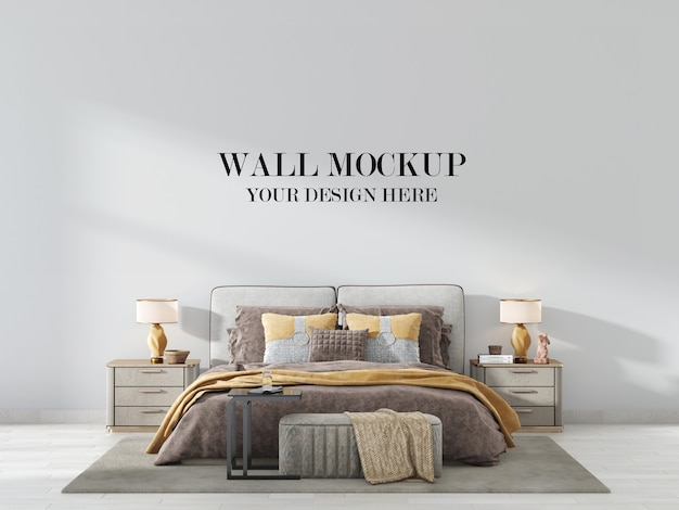 Modern luxury bedroom wall mockup