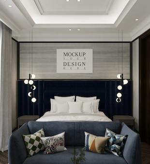 モックアップポスターとモダンで豪華なベッドルーム