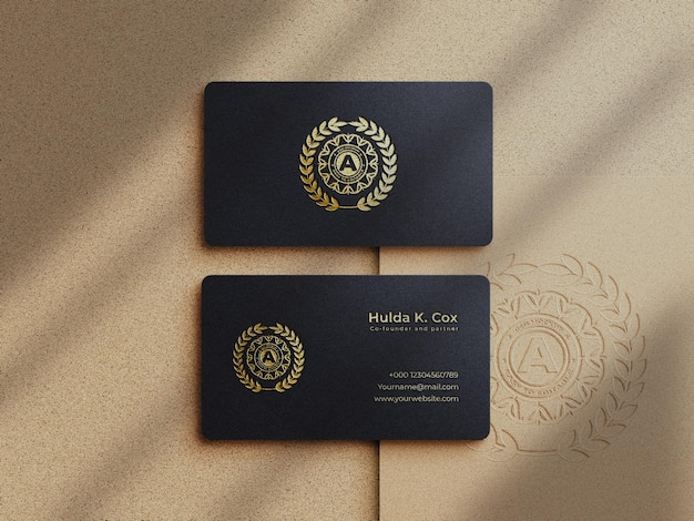Modern  luxury business card mockup  and gold effect logo