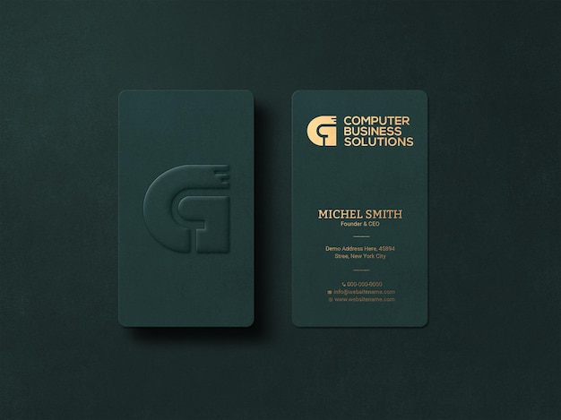Modern and luxury business card mockup with embossed effect