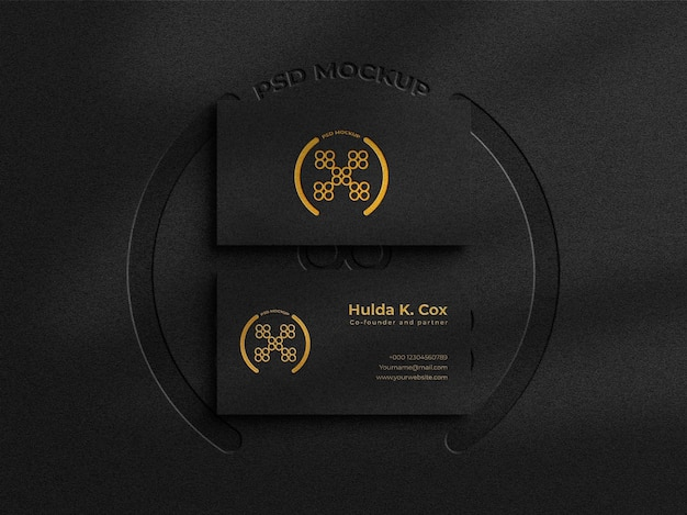 Modern luxury business card mockup with  gold foil effect on dark background