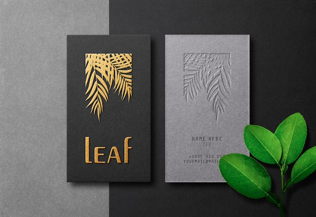 Modern & luxury business card mockup with gold letterpress and emboss effect