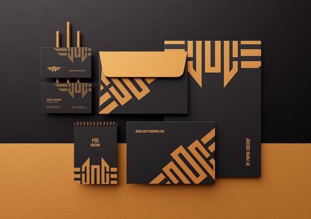 현대 럭셔리 기업 고정 브랜딩 아이덴티티 모형 장면 제작자