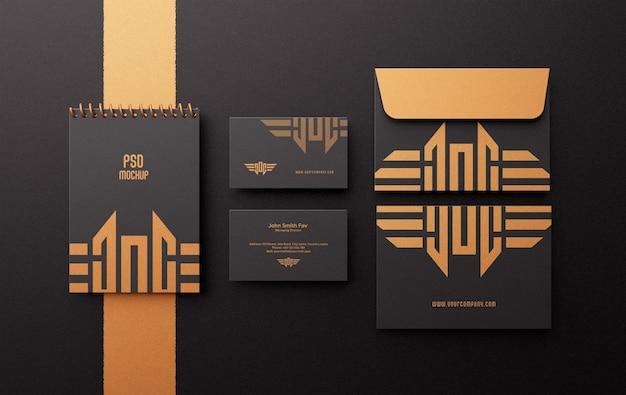 Modern luxury corporate stationary branding identity mockup scene creator