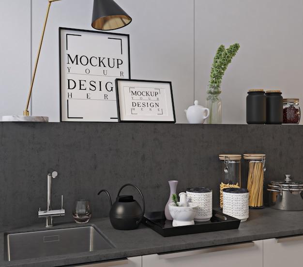 モックアップポスターフレームとモダンで豪華なキッチンデザイン