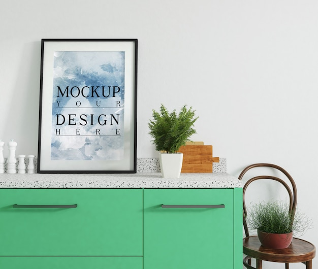 Modern luxury kitchen design with mockup poster