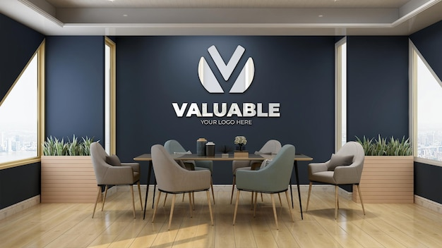Modern and luxury meeting room blue wall logo mockup