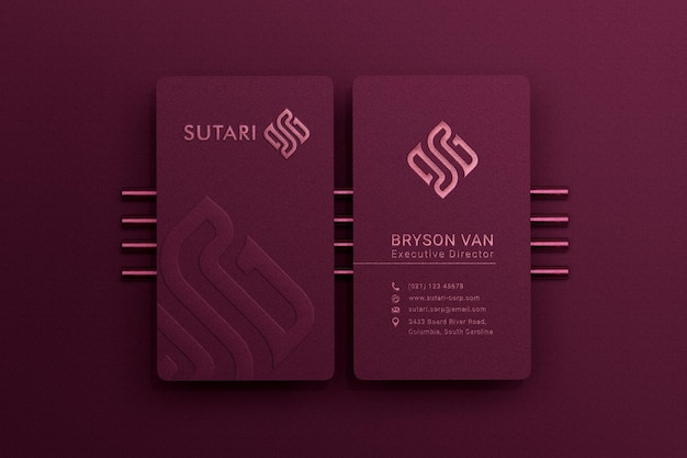 Modern and luxury vertical business card with embossed and debossed effect