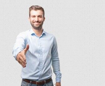 Modern man reaching out hand