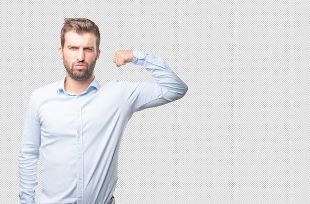 Modern man in strong pose
