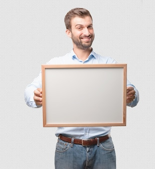 Modern man with whiteboard
