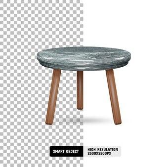 Современный мраморный и деревянный стол на прозрачном фоне