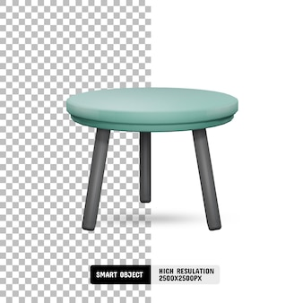 Modern marble and fabric table on transparent background
