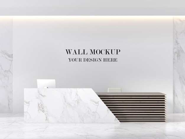 Modern marble reception area wall mockup