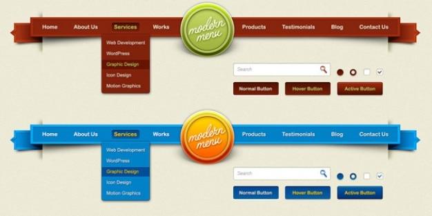 Modern menu & g elements psd
