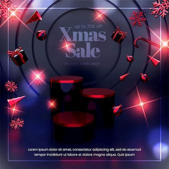 Современный баннер с рождественской распродажей с реалистичной 3d композицией рождественских объектов