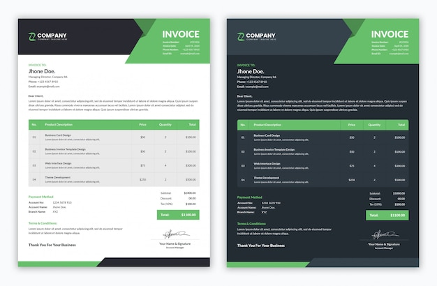 Modern minimal professional invoice template with light and dark color variation