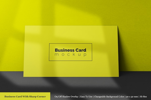 Modern minimal single 90x50mm corporate business card mock ups psd front view