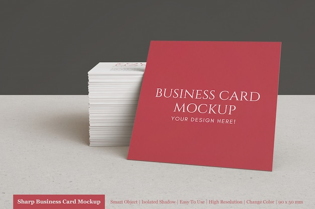 Modern minimal stacked square company business card mock ups psd template