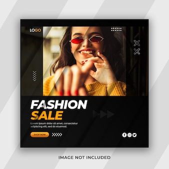 Modern minimal stylish fashion sale social media post template