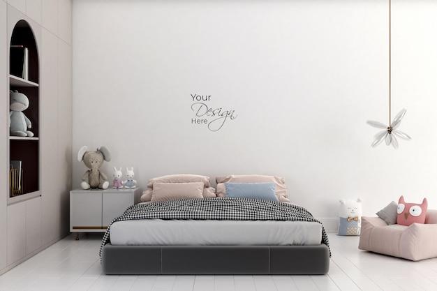 Современная минималистичная спальня и игрушки в детской комнате с макетом стены