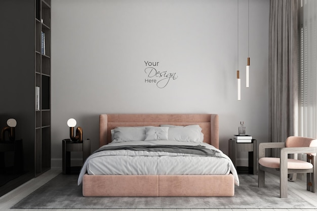 Современная минималистичная спальня с макетом стены