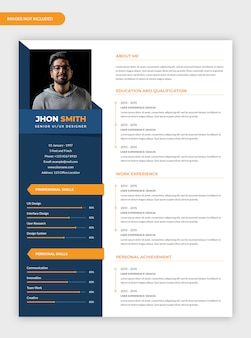 Modern minimalist cv resume template
