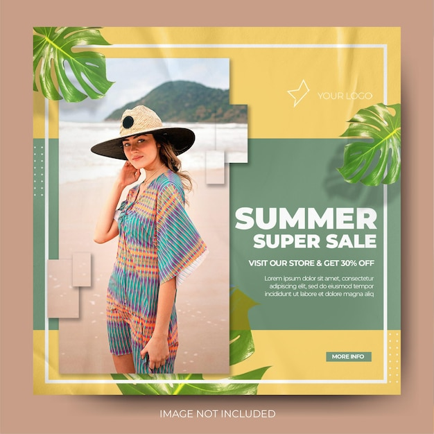 Modern minimalist fashion summer sale instagram post feed