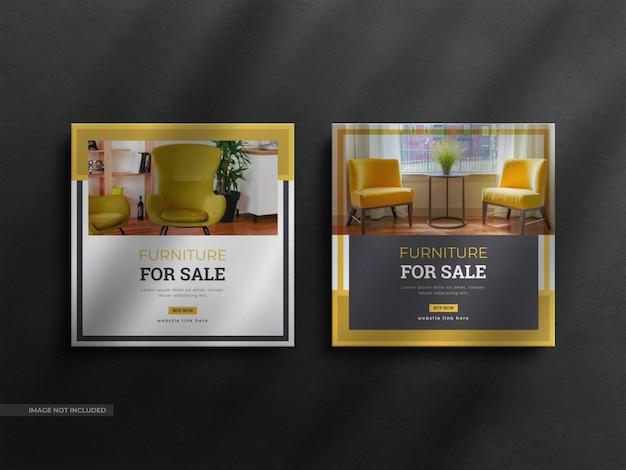 Современный минималистский баннер в instagram и социальных сетях, пост-домашний интерьер, мебель с чистым роскошным шаблоном
