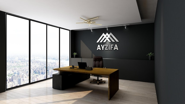 Modern minimalist interior design of meeting room logo mockup