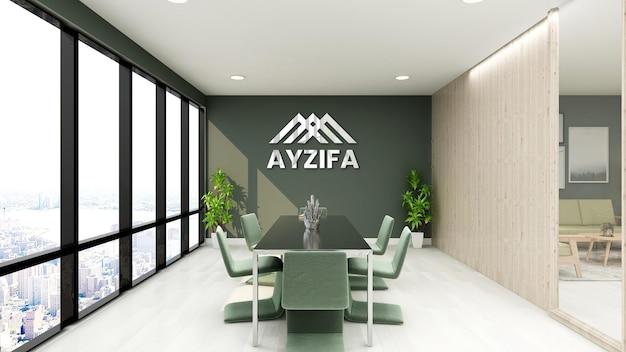 Современный минималистичный дизайн интерьера макета логотипа конференц-зала
