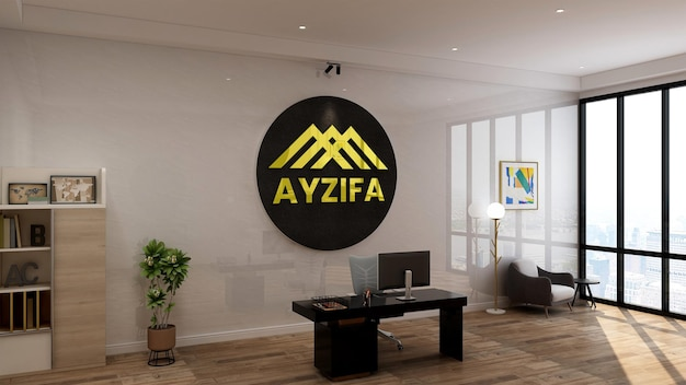 3d 브랜드 로고 벽 모형이있는 직장의 현대적인 미니멀리스트 인테리어 디자인