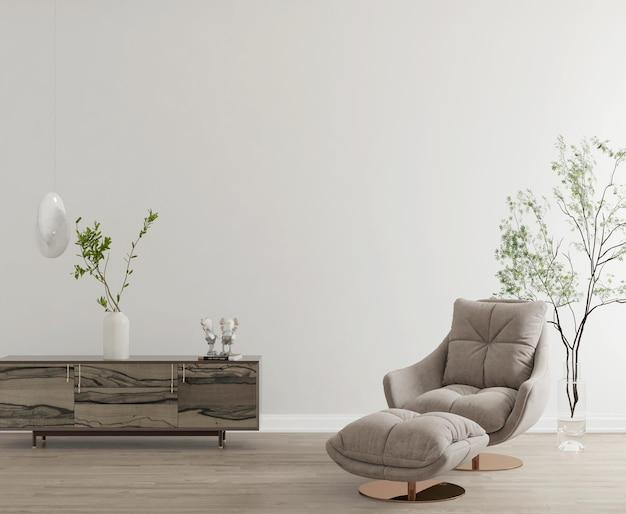 Современный минималистичный интерьер с макетом стены