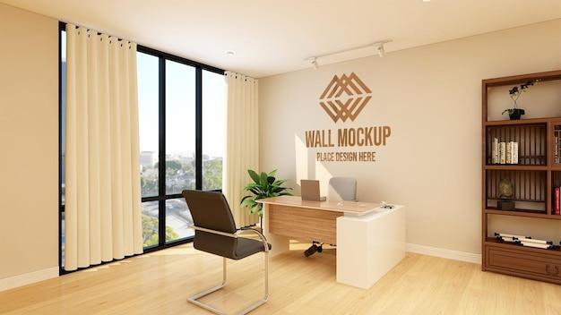 会社のロゴの3d壁モックアップとモダンなミニマリストオフィス