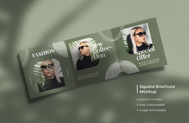 Modern and minimalist opened square trifold brochure or magazine mockup with template layout design