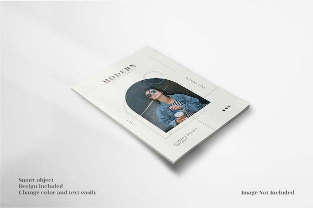 Modern and minimalist perspective view a4 brochure or flyer mockup