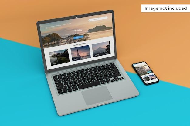 最新のモバイルインターフェイスとラップトップ画面のモックアップ