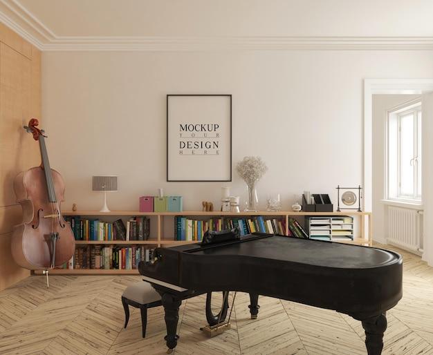 Современная музыкальная комната с макетом плаката и фортепиано