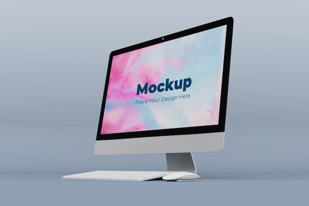 Modern office computer mockup design template