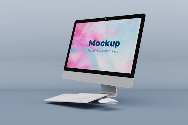 現代のオフィスコンピューターのモックアップデザインテンプレート