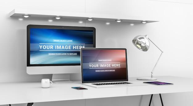 Современный офисный рабочий стол с компьютером и устройствами mockup